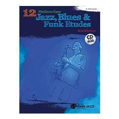 Image for 12 Medium-Easy Jazz, Blues & Funk Etudes-E-flat Instruments Book & CD from SamAsh