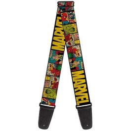 """Buckle-Down 2"""" MARVEL Retro Comic Panels Guitar Strap, Black and Yellow"""