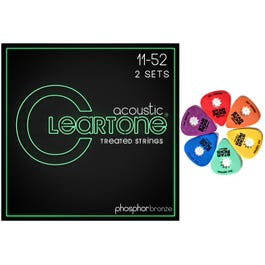 Cleartone Acoustic Phosphor Bronze 11-52 Two-Pack with Mixed Star Pick Blister