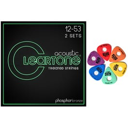 Cleartone Acoustic Phosphor Bronze 12-53 Two-Pack with Mixed Star Pick Blister