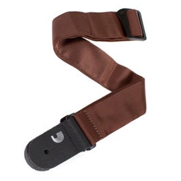 """D'Addario 2"""" Brown Tubular Nylon Woven Guitar Strap with Leather Ends"""