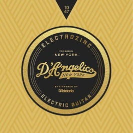 D'Angelico JAZZ 10's, Electrozinc Electric Guitar Strings, 10-47, X-Light, Wound Third