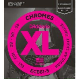 Image for ECB81-5 Reg Light Chromes Flatwound Electric Bass 5 String Set from SamAsh