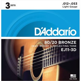 D'Addario EJ11-3D Light 80/20 Bronze Acoustic Guitar Strings, 3-Pack, 12-53