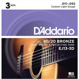 D'Addario EJ13-3D 80/20 Bronze Acoustic Guitar Strings, Custom Light, 3-Pack, 11-52