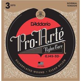 D'Addario EJ45 Pro Arte Normal Tension Nylon Guitar Strings, 3 Pack