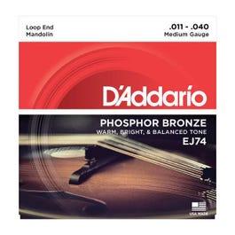 D'Addario EJ74 3 Pack Mandolin Strings, Phosphor Bronze, Medium, 11-40