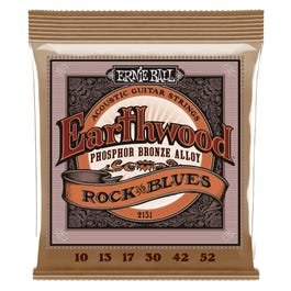 Ernie Ball 2151 Earthwood Acoustic Phosphor Bronze Guitar Strings, Rock and Blues, 10-52