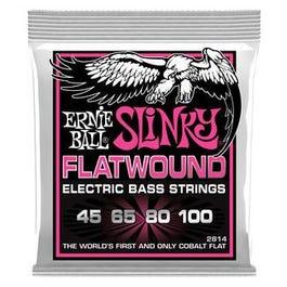 Ernie Ball 2814 Super Slinky Flatwound Electric Bass Guitar 4-String Set, 45-100