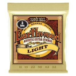 Ernie Ball Earthwood Light 80/20 Bronze Acoustic Guitar Strings 3-Pack, 11-52