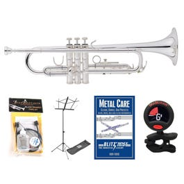 Image for 483LE Deluxe Engraved Student Trumpet (Silver) Pack with Accessories from SamAsh