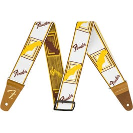 Fender Weighless Monogrammed Guitar Strap, White/Brown/Yellow