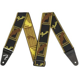Fender Weighless Monogrammed Guitar Strap, Brown/Yellow/Brown