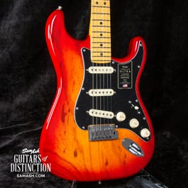 Fender American Ultra Luxe Stratocaster Electric Guitar Plasma Red Burst