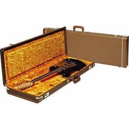 Image for Deluxe Brown Tolex Stratocaster or Telecaster Electric Guitar Case (Gold Interior from SamAsh