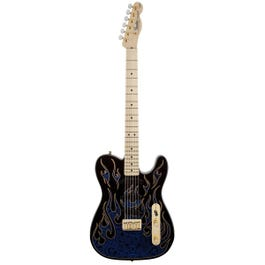 Image for James Burton Telecaster Electric Guitar Blue Paisley Flames from SamAsh