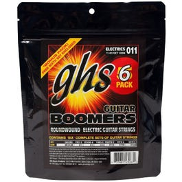 GHS GBM-5 Boomers Roundwound Medium Electric Guitar Strings, 11-50, 6 Pack
