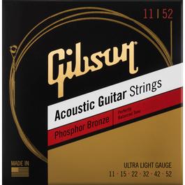 Gibson Phosphor Bronze Acoustic Guitar Strings, Ultra-Light, 11-52