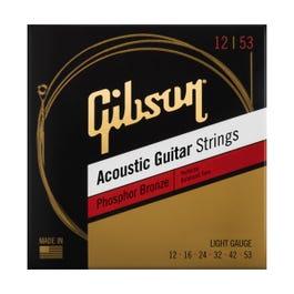 Gibson Phosphor Bronze Acoustic Guitar Strings, Light, 12-53