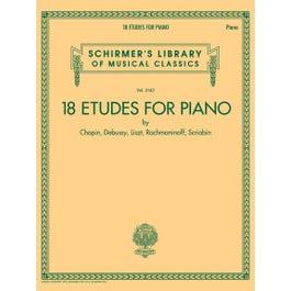 Hal Leonard 18 Etudes for Piano by Chopin, Debussy, Liszt, Rachmaninoff, Scriabin