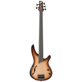 Image for SRH505F Bass Workshop Fretless 5-String Semi-Hollow Body Bass Guitar (Natural Browned Burst Flat) from SamAsh