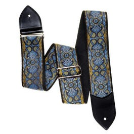 """Jodi Head 2.5"""" Martin Paisley Sea Blue Guitar Strap with Leather Ends"""