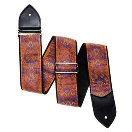 """Jodi Head 2.5"""" Ricky Man Paisley Pumpkin Guitar Strap with Leather Ends"""