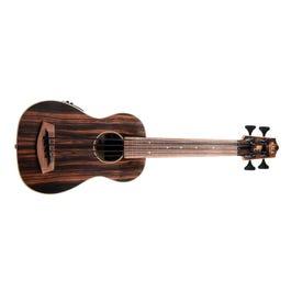 Image for UBASS-EBY-FL Striped Ebony Fretless U-Bass Acoustic-Electric Ukulele Bass from SamAsh
