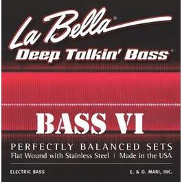 La Bella 767-6F Bass VI- Stainless Steel Flat Wound 6-String Bass Set, 26-95