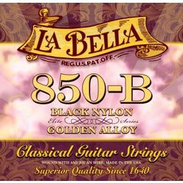 La Bella 850B Elite Black Nylon, Golden Alloy Classical Guitar Strings, 28-41