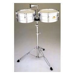 """Image for 14""""/15"""" Caliente Steel Timbales w/Tilt Stand & Cowbell from SamAsh"""