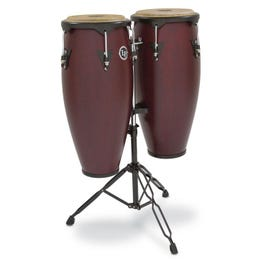 Latin Percussion City Congas with Stand, Dark Wood Finish