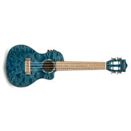 Image for Quilted Maple Blue Stain Acoustic-Electric Concert Ukulele from SamAsh