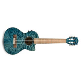 Image for Quilted Maple Blue Stain Acoustic-Electric Tenor Ukulele from SamAsh