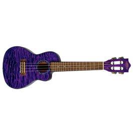 Lanikai QM-PUCEC Quilted Maple Purple Stain Concert Acoustic-Electric Ukulele