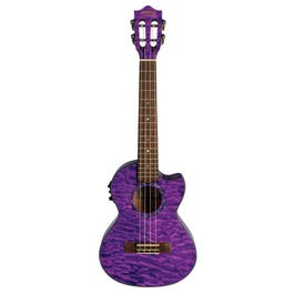 Lanikai QM-PUCET Quilted Maple Purple Stain Tenor Acoustic-Electric Ukulele