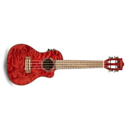 Image for Quilted Maple Red Stain Acoustic-Electric Concert Ukulele from SamAsh