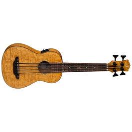 Luna Guitars Bari-Bass Quilt Ash Acoustic-Electric Ukulele
