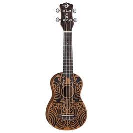 Luna Guitars Uke Tribal Mahogany Soprano Ukulele
