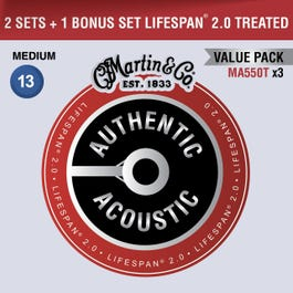 Martin Authetic Acoustic Lifespan 2.0 Guitar String, Mediums, VALUE PACK