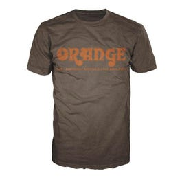 Image for Retro T-Shirt, Brown with Orange Logo from SamAsh