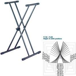 """Quik-Lok T-20 Double-Brace, Single-Tier, """"X"""" Keyboard Stand"""
