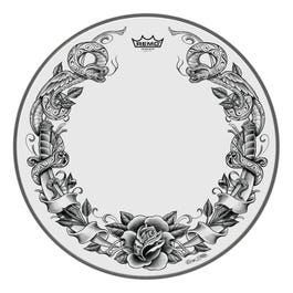 """Image for Powerstroke P3 Skyndeep Bass Drumhead - Tattoo Serpentrose On White - 22"""" from SamAsh"""