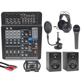 Image for MixPad MXP 124 FX Analog Mixer Complete Single Podcasting Package from SamAsh