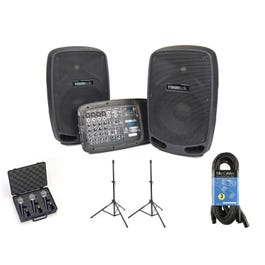 Image for PA210 Portable PA System w/ Speaker Stands and Microphones from SamAsh