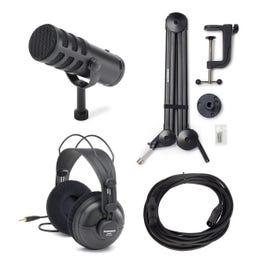 Samson Q9U Broadcast Microphone w/ Boom Arm, Headphones, & Cable