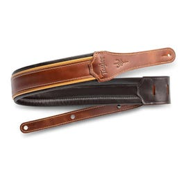 """Image for Century 2.5"""" Leather Guitar Strap (Medium Brown/Buttersotch Black) from SamAsh"""