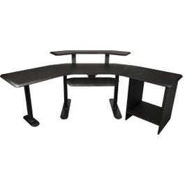 """Ultimate Support Nucleus 3 Studio Desk - 24"""" Extensions, 12 space rack, 2nd Tier and Keyboard Tray"""