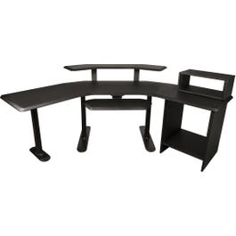 """Ultimate Support Nucleus 4 Studio Desk - 24"""" Extension, 12 Space Rack, 2nd Tier, 4 Space Rack and Keyboard Tray"""