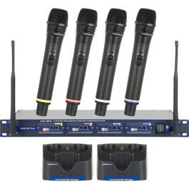 Image for UHF-5805 Professional Rechargeable 4-Channel UHF Wireless Microphone System from SamAsh